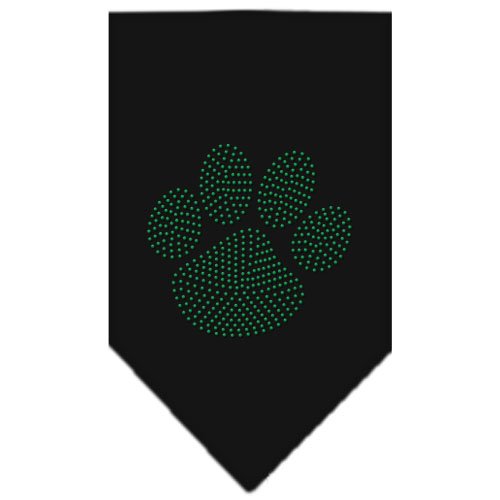 Green Dog Paw rhinestone bandana black