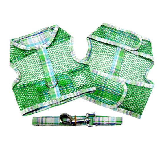 Green and Turquoise Plaid Dog Harness and Leash