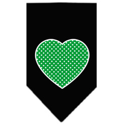Green polka dot heart dog bandana black