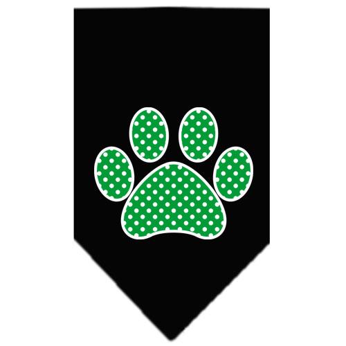 Green polka dot paw dog bandana black