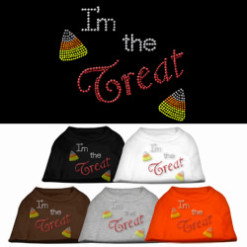 Halloween I'm the Treat rhinestones dog t-shirt colors