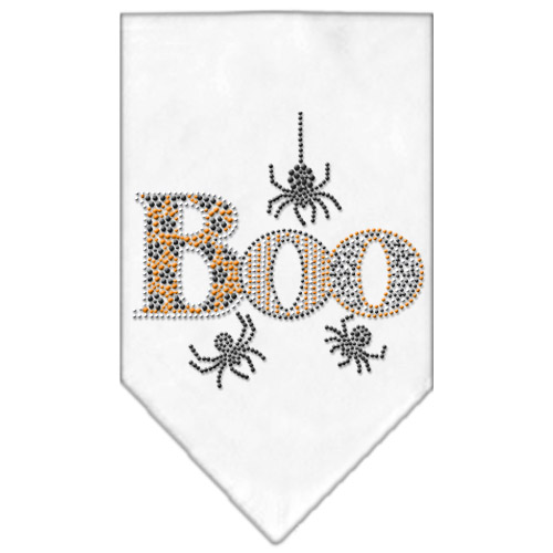 Halloween spiders boo rhinestone dog bandana white