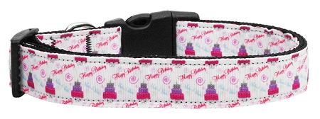 Pink and Purple Happy Birthday Cake Nylon Adjustable Dog Collar