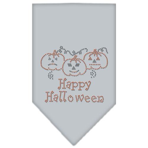 Happy Halloween Jack-o'-lantern rhinestone bandana gray
