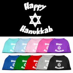 Happy Hanukkah star of David dog t-shirt multi-colors