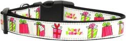 Happy Holidays Nylon Dog Collar Presents