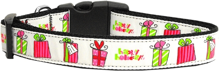 Happy Holidays Nylon Dog Collar Presents