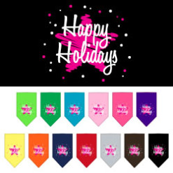 Happy Holidays pink star dog bandana