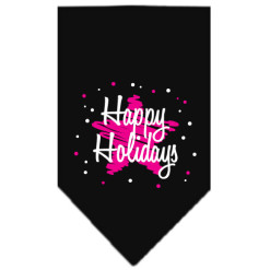 Happy Holidays pink star dog bandana black