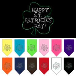 Happy St Patrick's Day Shamrock rhinestone bandana