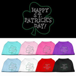 Happy St Patricks Day shamrock rhinestones dog t-shirt colors