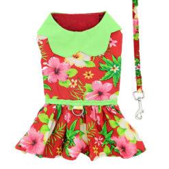 Hawaiian Red Hibiscus Dog Dress back