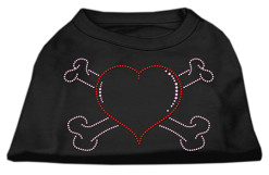 Heart and crossbones rhinestones dog t-shirt black