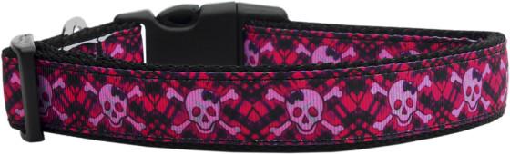 Hot Pink Skull and Crossbones Adjustable Dog Collar