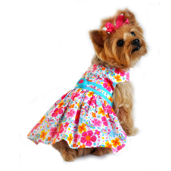 Hot Pink and Turquoise Floral Dog Dress