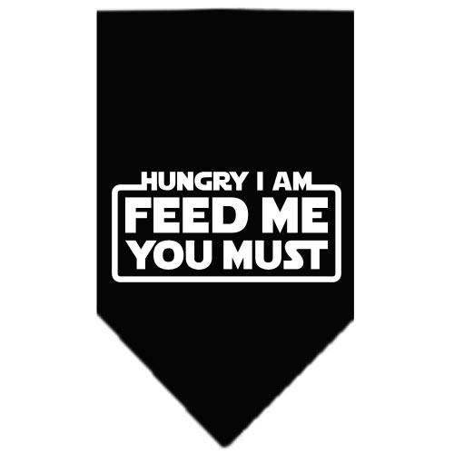 Hungry I Am Feed Me You Must dog bandana black