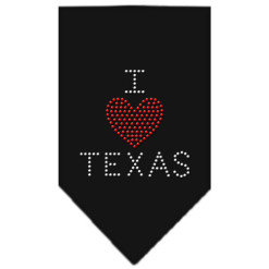 I Heart Texas rhinestone dog bandana black