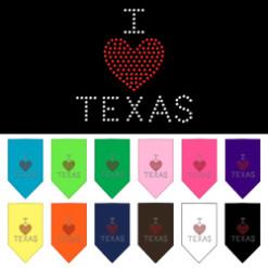 I Heart Texas rhinestone dog bandana