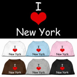 I Love New York dog t-shirt sleeveless multi-colors