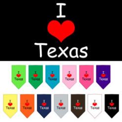 I Love Texas dog bandana