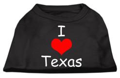 I Love Texas dog t-shirt sleeveless black