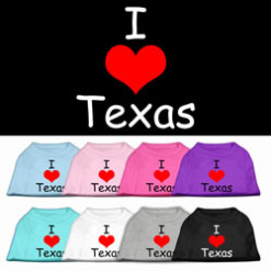 I Love Texas dog t-shirt sleeveless multi-color