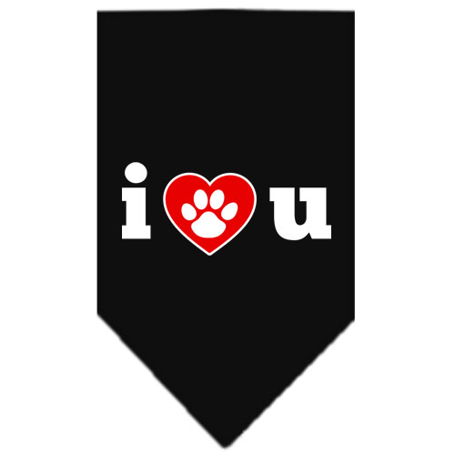 I Love You Dog Paw bandana dog black