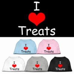 I Love treats dog t-shirt sleeveless multi-color