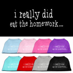 I Really Did Eat the Homework t-shirt sleeveless dog multi-colors