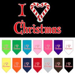 I love Christmas dog bandana candy cane
