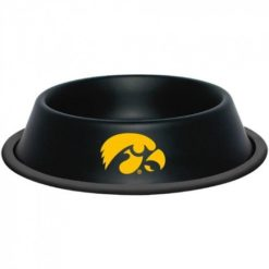 Iowa Hawkeye Stainless Black NCAA Dog Bowl