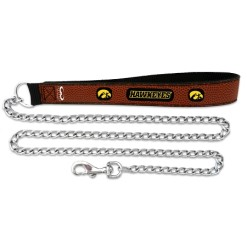 Iowa Hawkeye leather dog leash chain