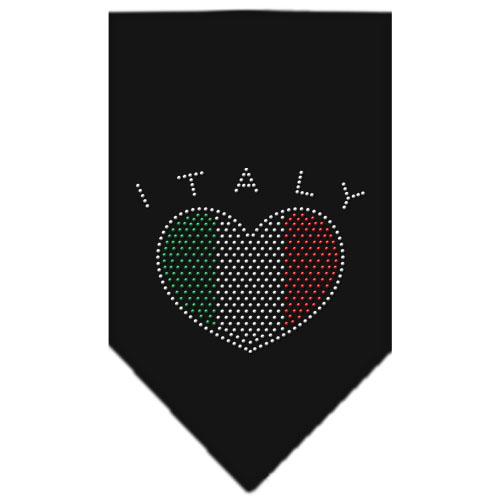Italy flag rhinestone heart bandana black