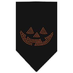 Jack-o-Lantern Face Halloween rhinestone dog bandana black