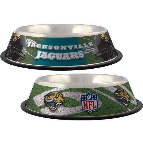 Jacksonville Jaguars NFL stainless dog bowl