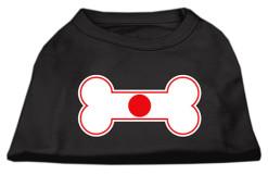 Japan flag bone shape outline sleeveless dog t-shirt black