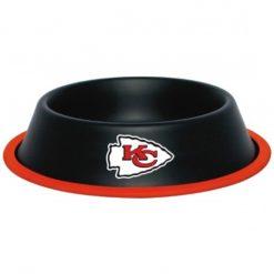 Kansas City KC Chiefs Stainless Black Dog Bowl