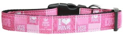 Keep Calm and Love Pink adjustable dog collar
