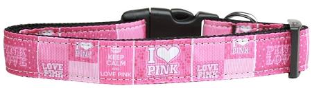 Keep Calm and Love Pink adjustable dog collar