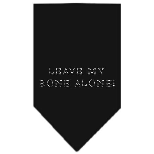 Leave My Bone Alone rhinestone dog bandana black