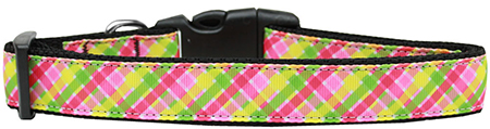 Lemondrop Plaid Adjustable Dog Collar
