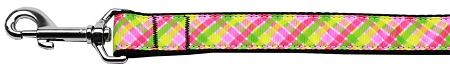 Lemondrop Plaid Dog leash pink green yellow