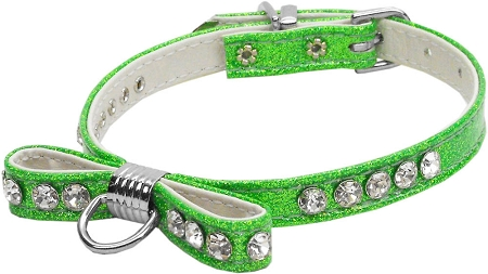 Lime Green Bow Dog Collar with Austrian crystals