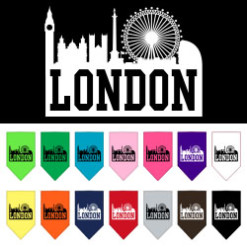 London Skyline silhouette dog bandanas