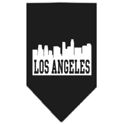 Los Angeles skyline silhouette dog bandana black
