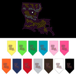 Louisiana State outline Mardi Gras rhinestone bandana colors