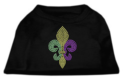 Louisiana state outline LSU mardi gras rhinestones dog t-shirt black