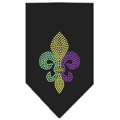Mardi Gras Fleur de Lis Rhinestone dog bandana black
