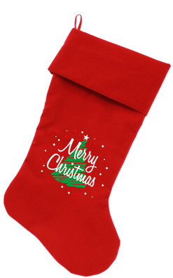 Merry Christmas and tree dog stocking red