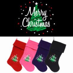 Merry Christmas and tree dog stockings